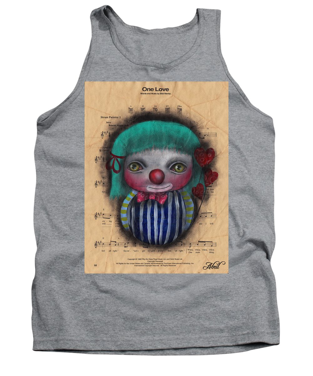 Gothic Art Tank Top featuring the painting One Love Clown by Abril Andrade Griffith