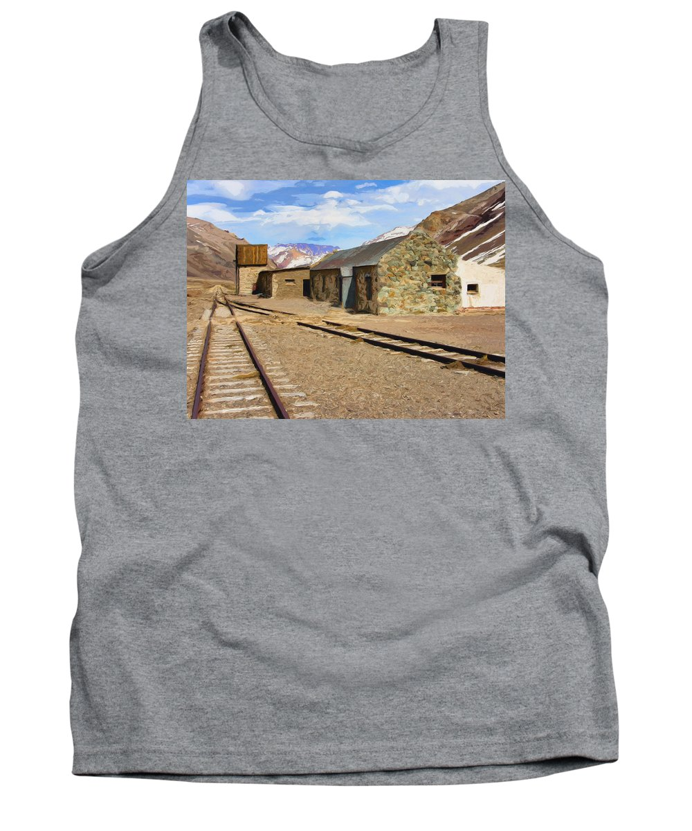 Railroad Tank Top featuring the painting Only The Echoes Now by Dominic Piperata