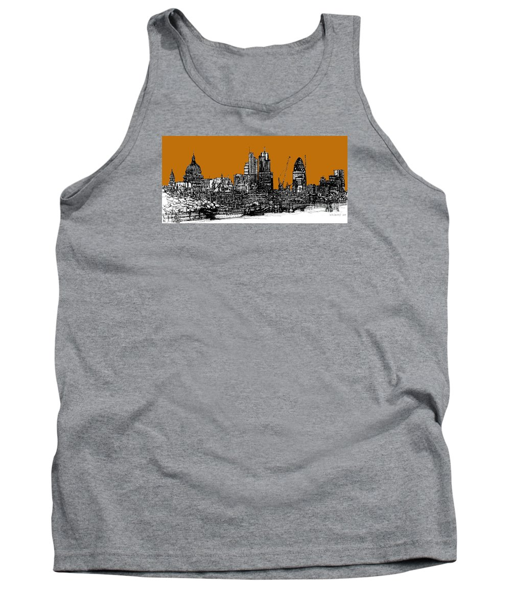 London Tank Top featuring the drawing Dark Ink With Bright Orange London Skies by Adendorff Design