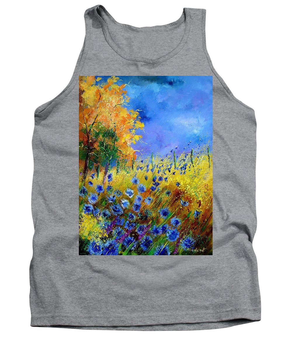 Poppies Tank Top featuring the painting Orange tree and blue cornflowers by Pol Ledent