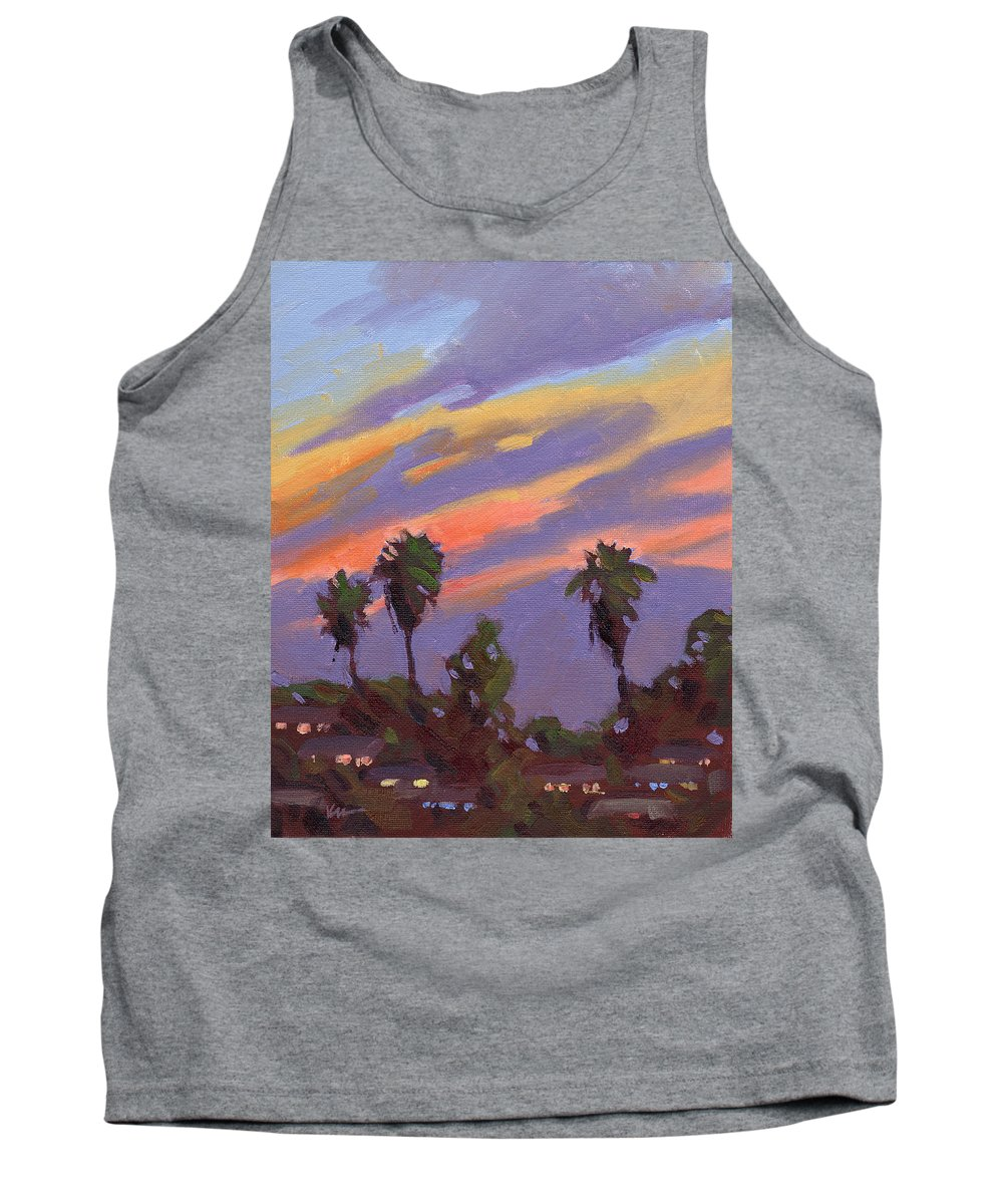 Sunset Tank Top featuring the painting Pacific Sunset 1 by Konnie Kim
