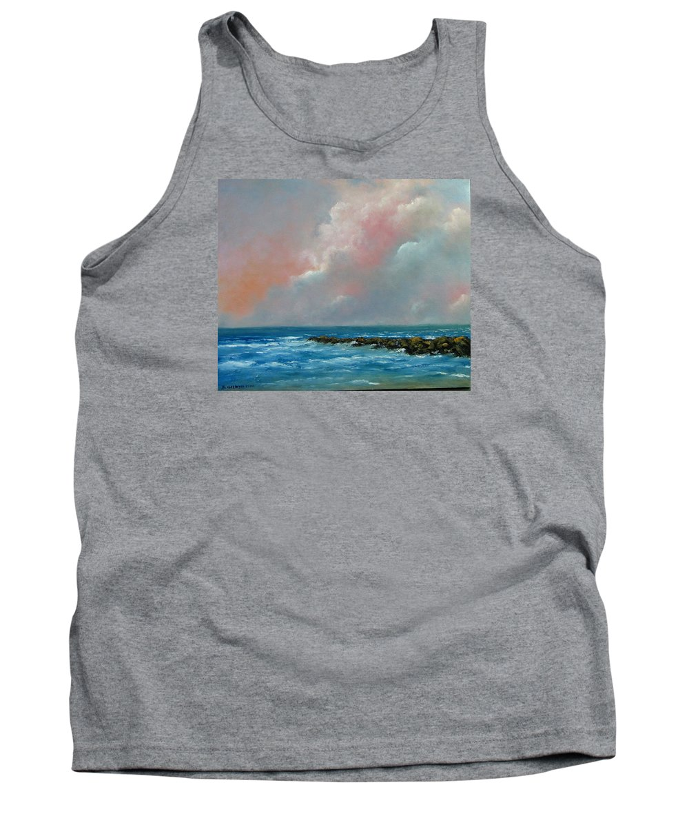 Waterscape Tank Top featuring the painting Pacific Sunset by Boris Garibyan