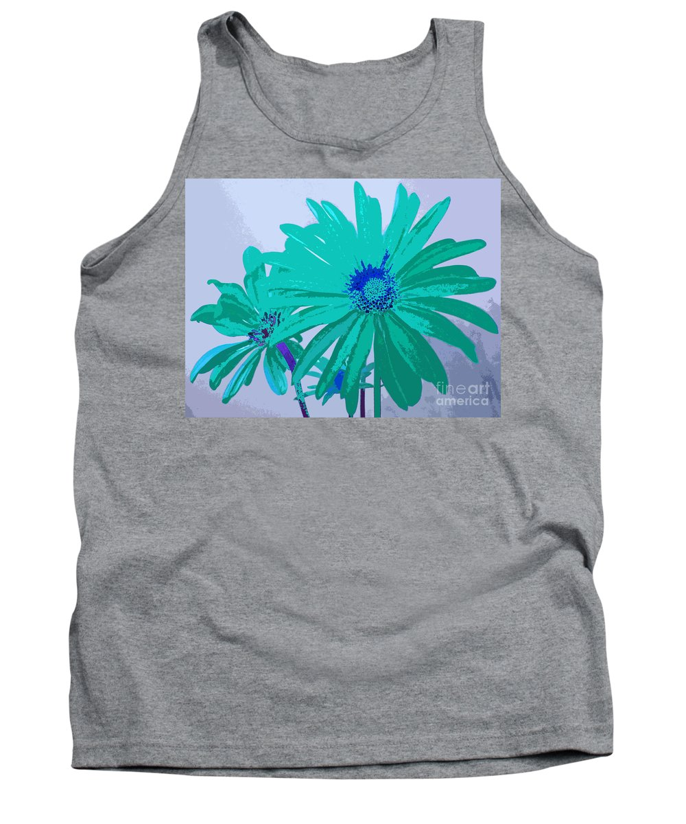 Blue Tank Top featuring the digital art Painterly Flowers In Teal And Blue Pop Art Abstract by Adri Turner