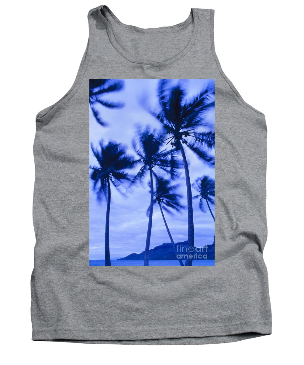 Blue Tank Top featuring the photograph Palms In Storm Wind-bora Bora Tahiti by Frans Lanting MINT Images