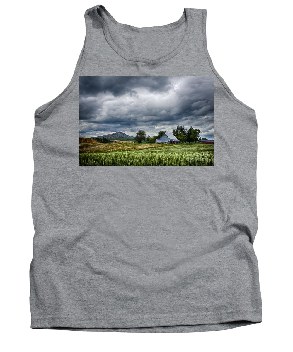 Palouse Farm And Steptoe Butte Tank Top featuring the photograph Palouse Farm And Steptoe Butte by Priscilla Burgers