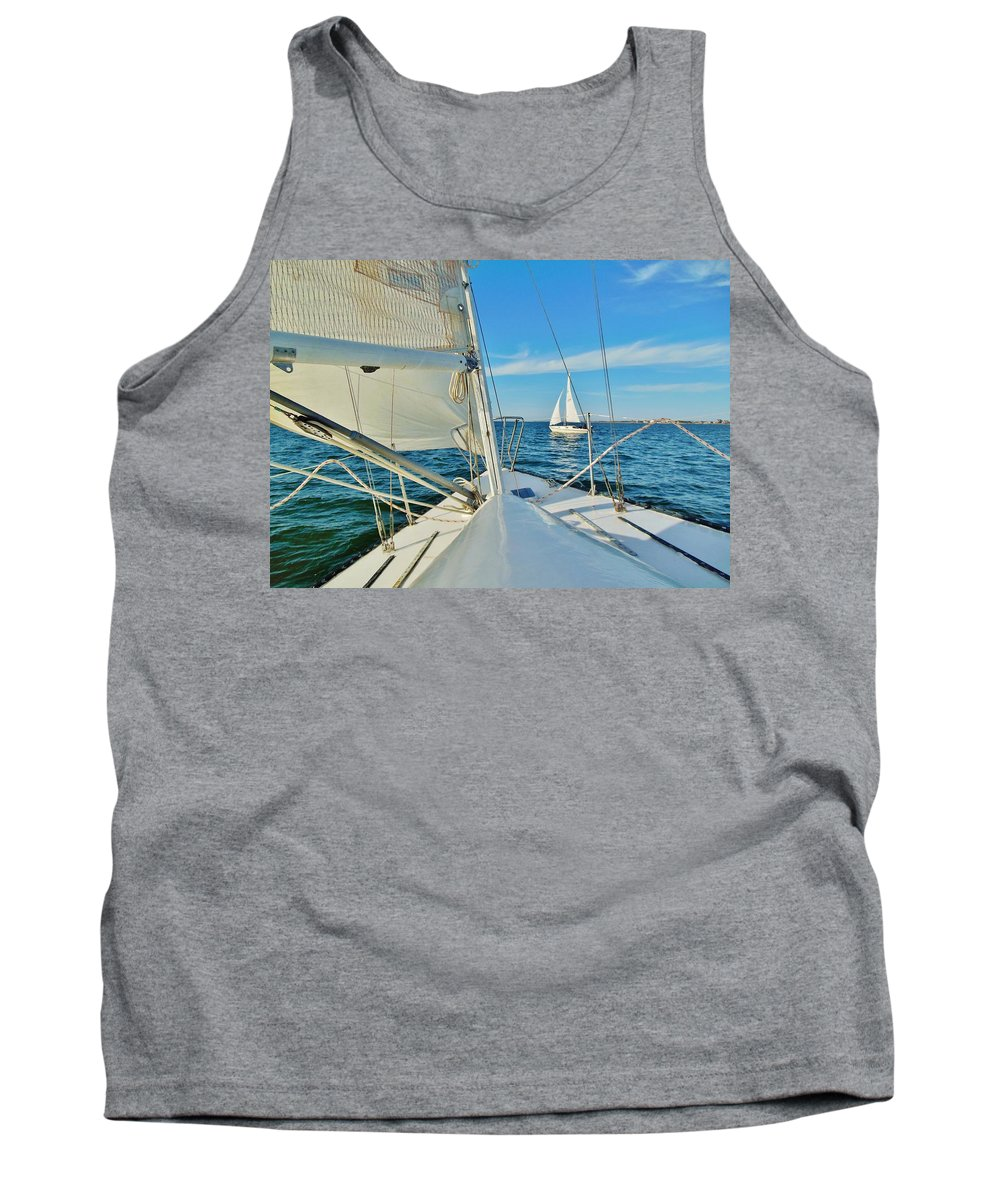 Mark Lemmon Cape Hatteras Nc The Outer Banks Photographer Subjects From Sunrise Tank Top featuring the photograph Pamlico Sound Sailing 52 4/14 by Mark Lemmon