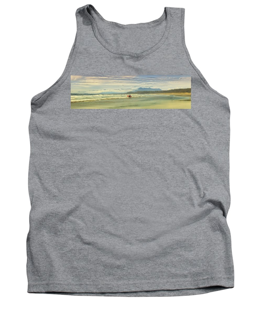 Attracted Tank Top featuring the photograph Panoramic Of Surfers On Long Beach, Bc by Will Datene