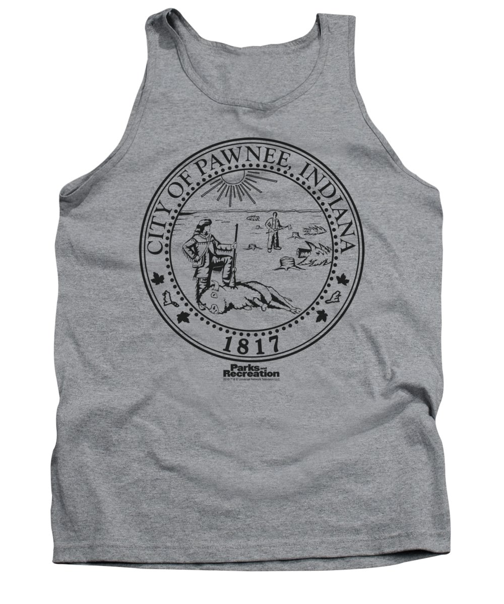 Parks And Rec Tank Top featuring the digital art Parks And Rec - Pawnee Seal by Brand A
