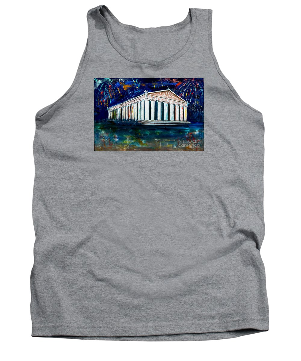 Nashville Tank Top featuring the painting Parthenon - Nashville by Olga Alexeeva