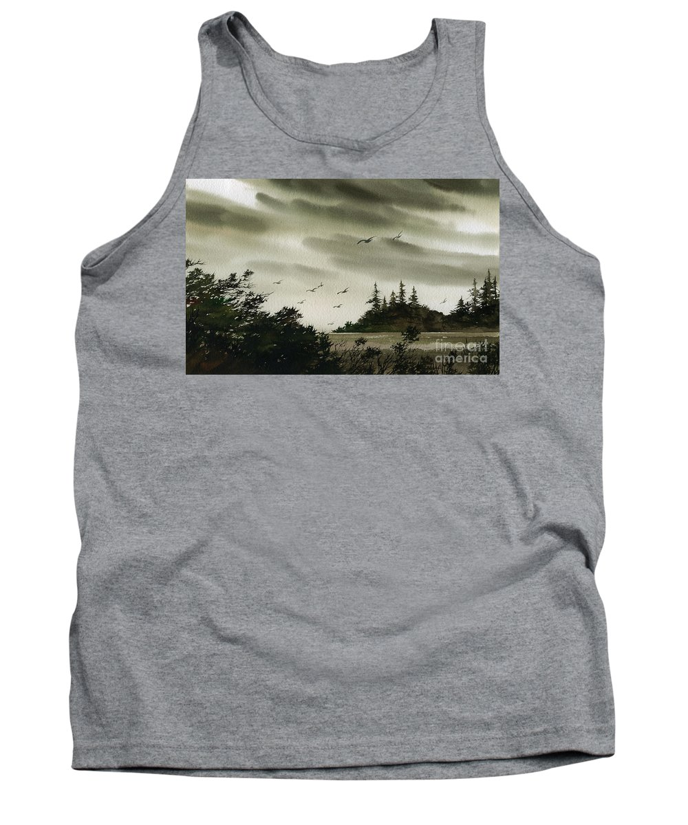 Watercolor Painting Tank Top featuring the painting Peaceful Inland Cove by James Williamson