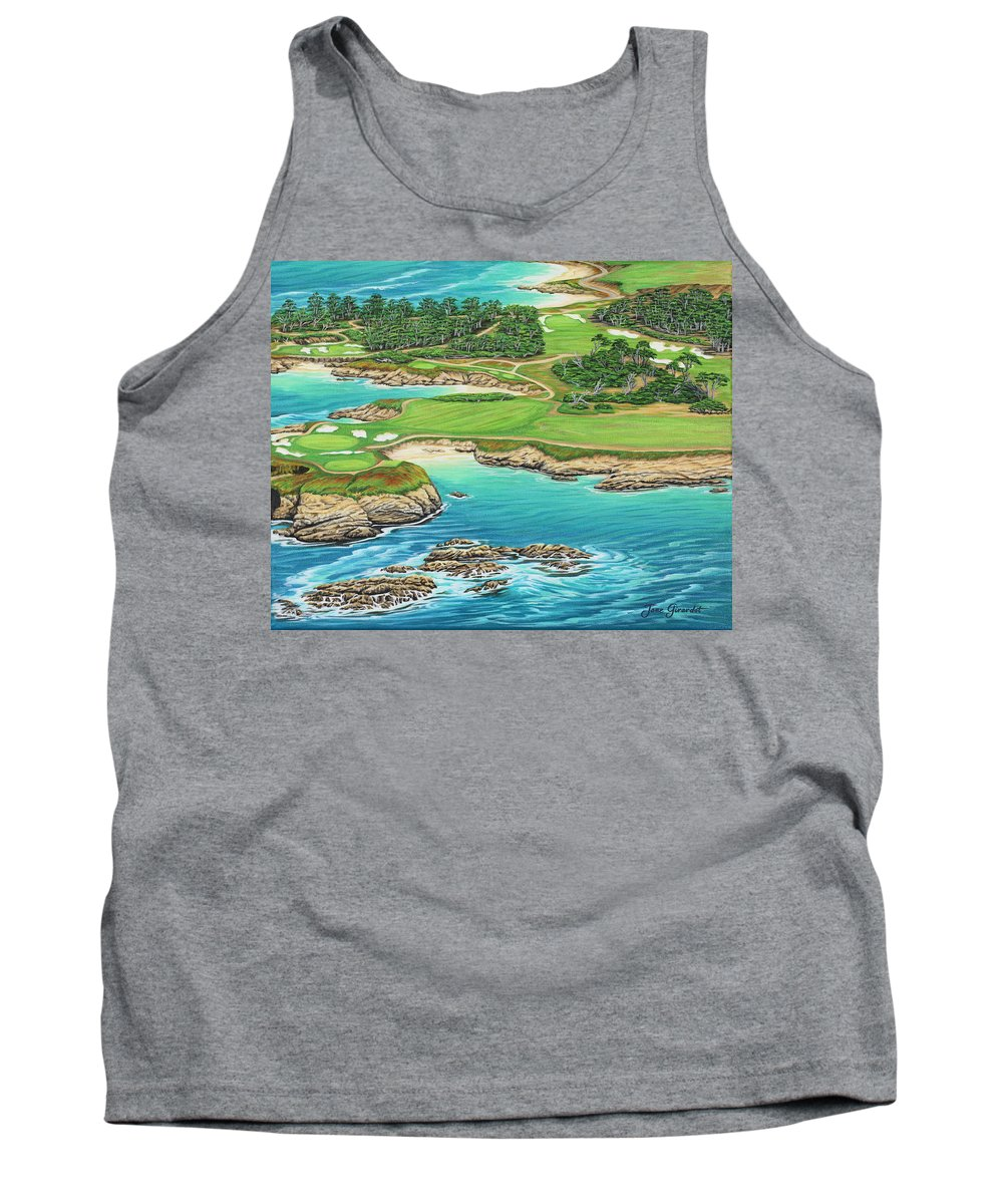 Ocean Tank Top featuring the painting Pebble Beach 15th Hole-south by Jane Girardot