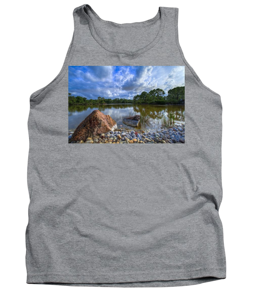 Clouds Tank Top featuring the photograph Pebble Beach by Debra and Dave Vanderlaan