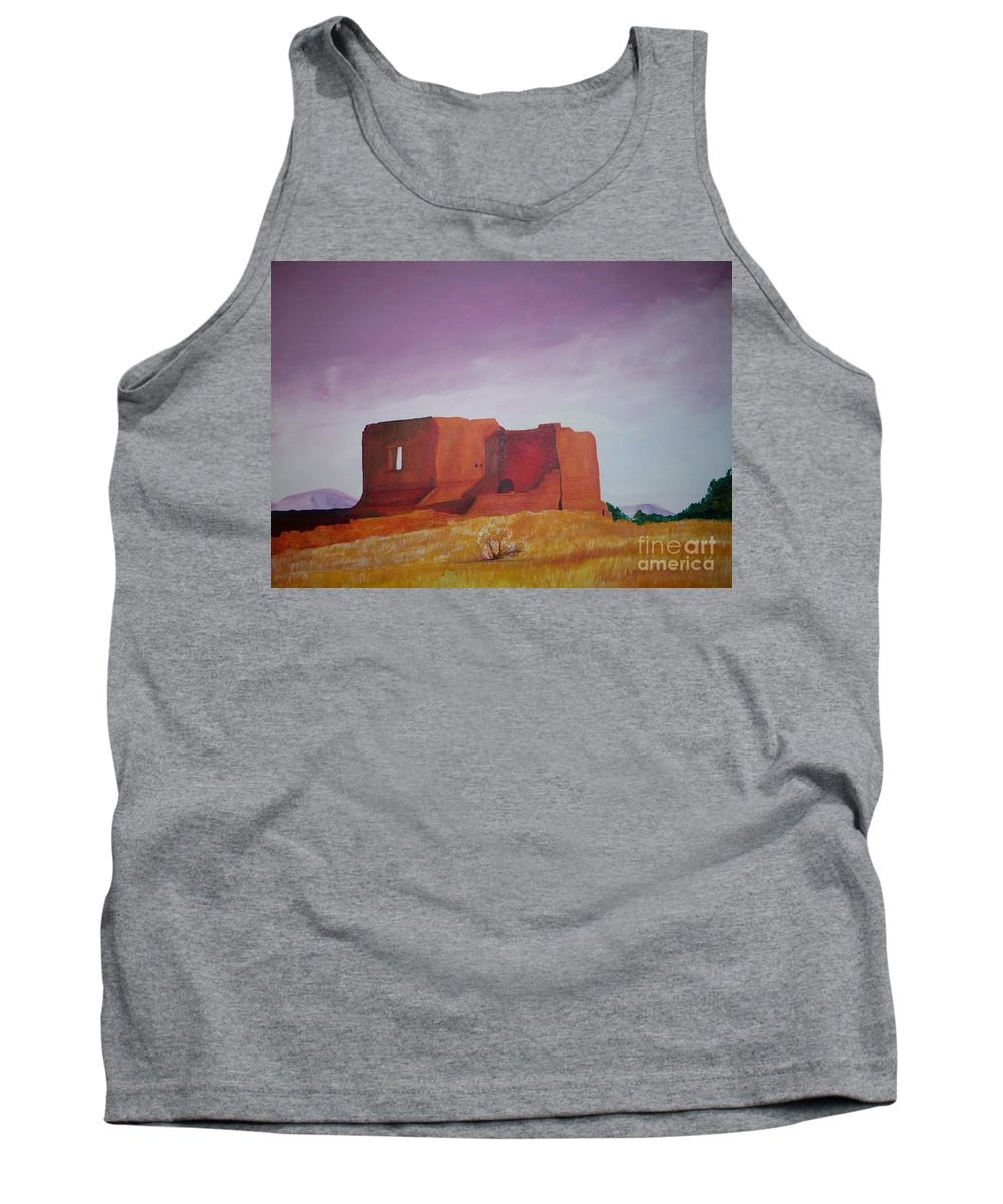 Western Tank Top featuring the painting Pecos Mission Landscape by Eric Schiabor