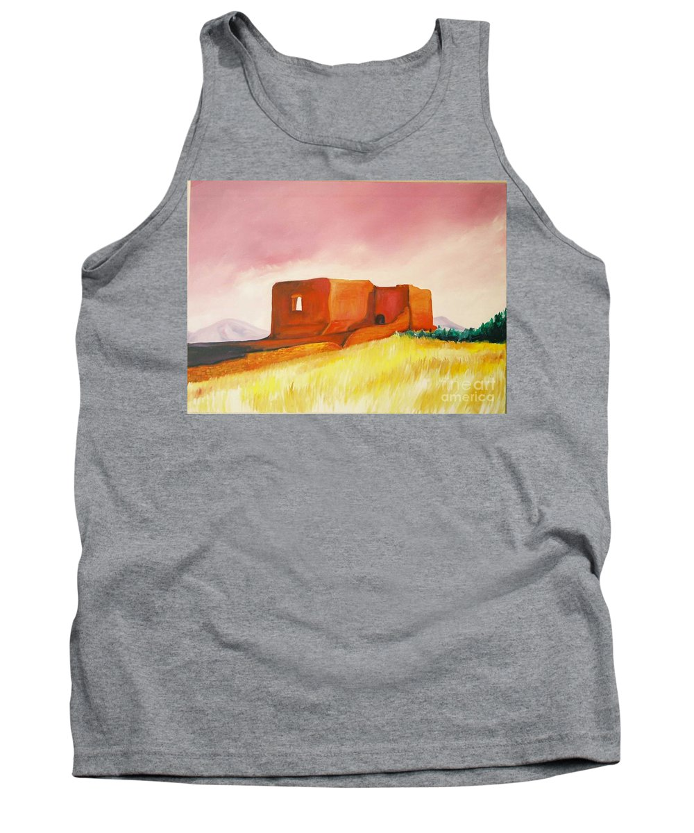 Western Landscapes Tank Top featuring the painting Pecos Mission Nm by Eric Schiabor
