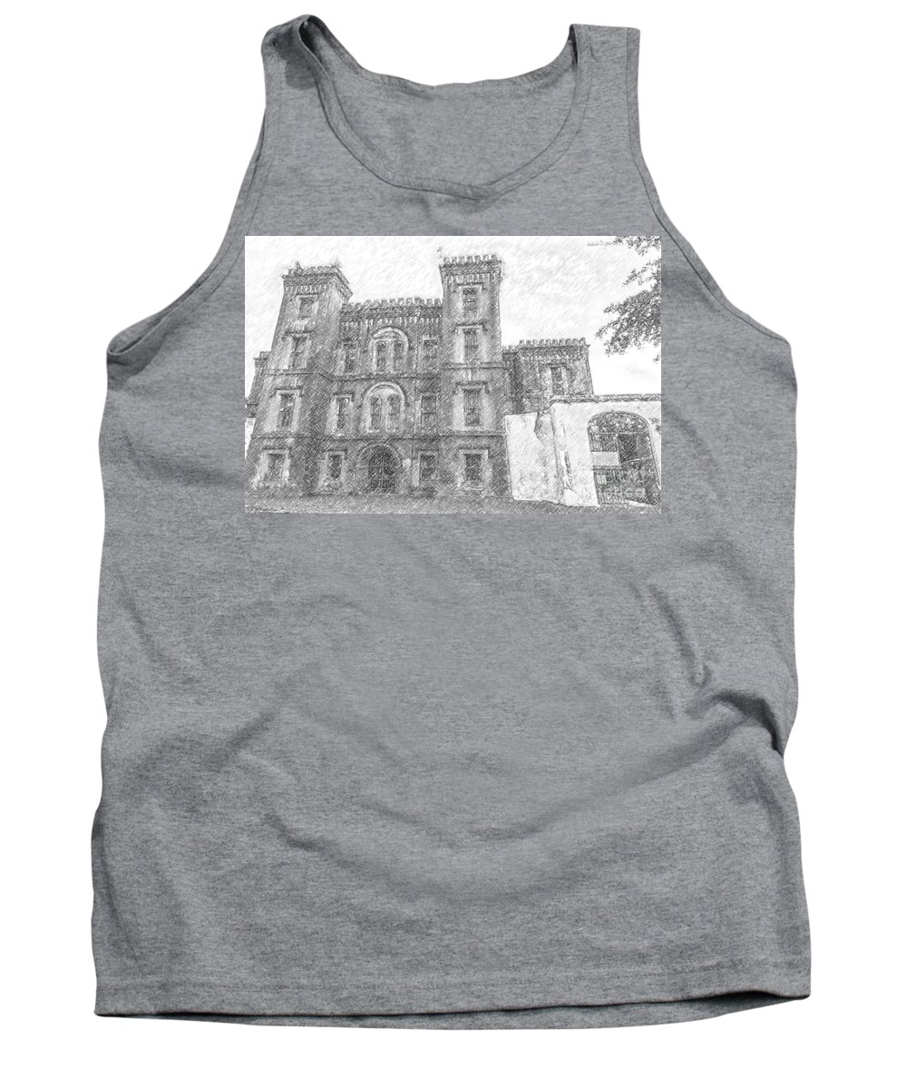 Old Tank Top featuring the drawing Pencil Drawing Of Old Jail by Dale Powell