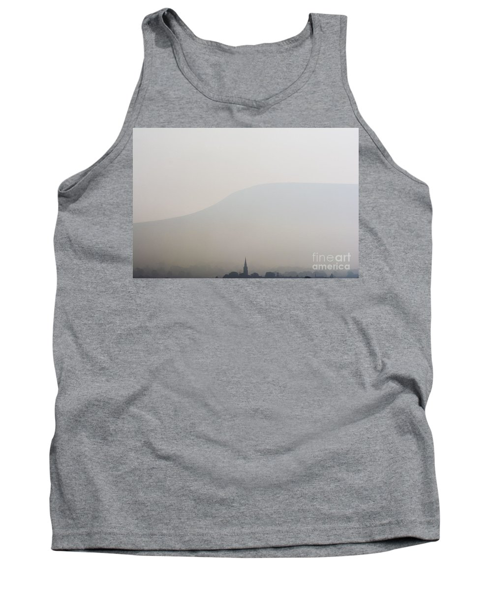 Pendle Tank Top featuring the photograph Pendle Hill And Clitheroe Lancashire Uk by Paul Adams