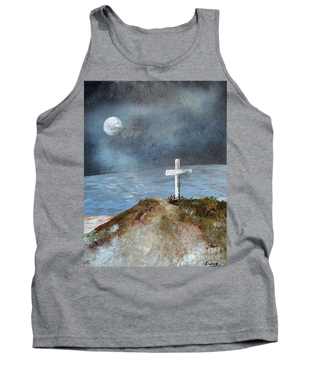 Cross Tank Top featuring the painting Pensacola Beach By The Light Of The Moon by Eloise Schneider Mote