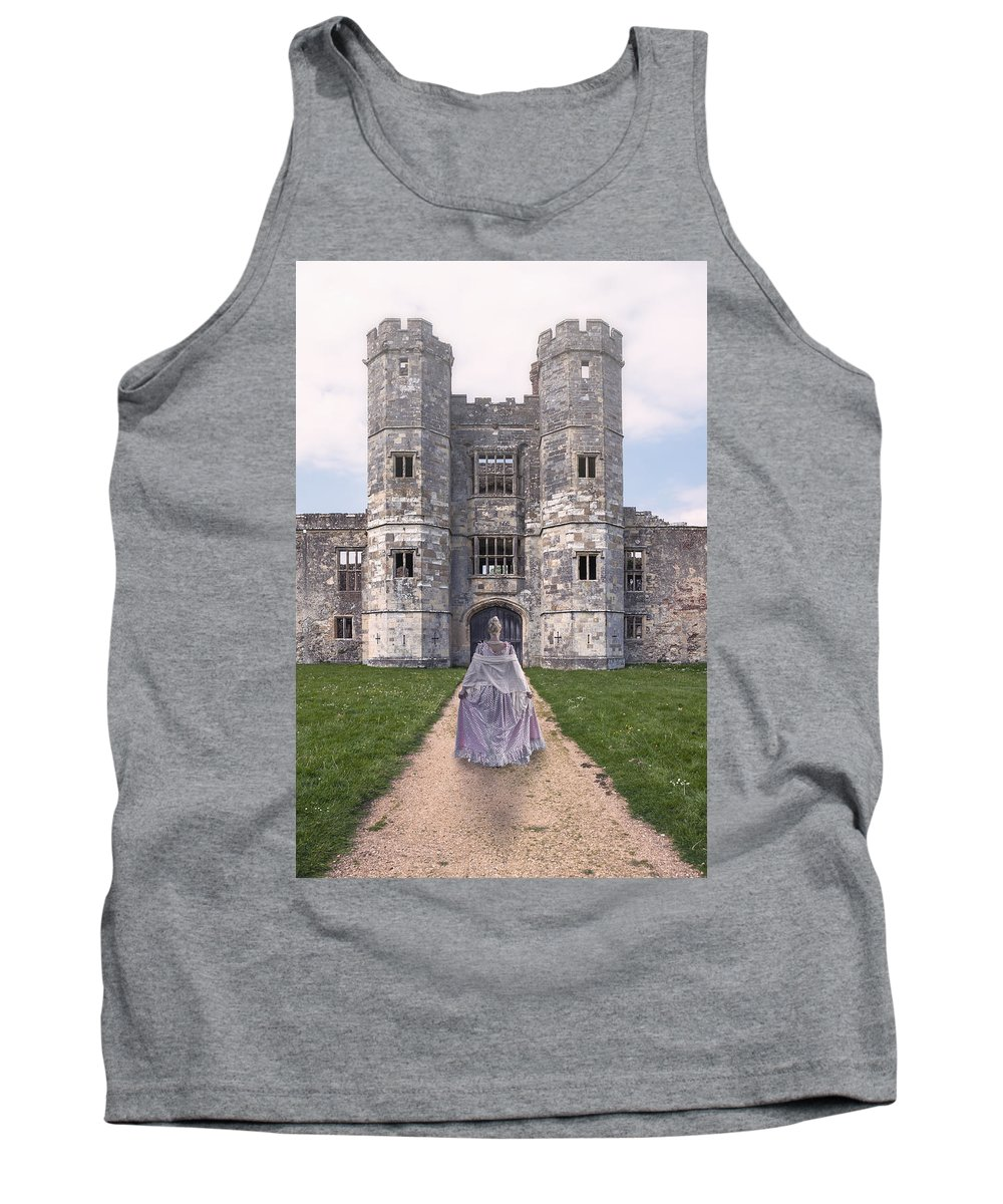 Woman Tank Top featuring the photograph Period Lady In Front Of A Castle by Joana Kruse