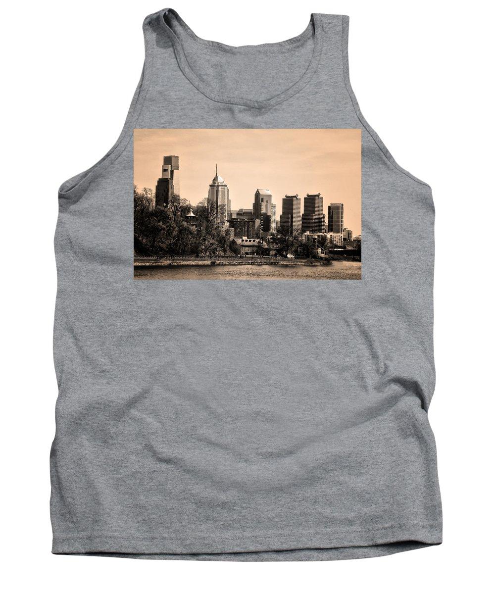 Philadelphia Cityscape In Sepia Tank Top featuring the photograph Philadelphia Cityscape In Sepia by Bill Cannon