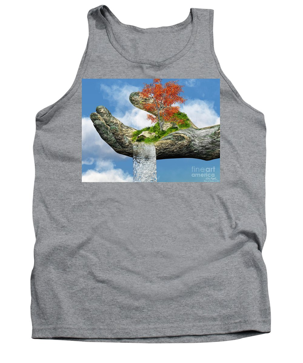 Hand Tank Top featuring the digital art Piece Of Nature by Eric Nagel