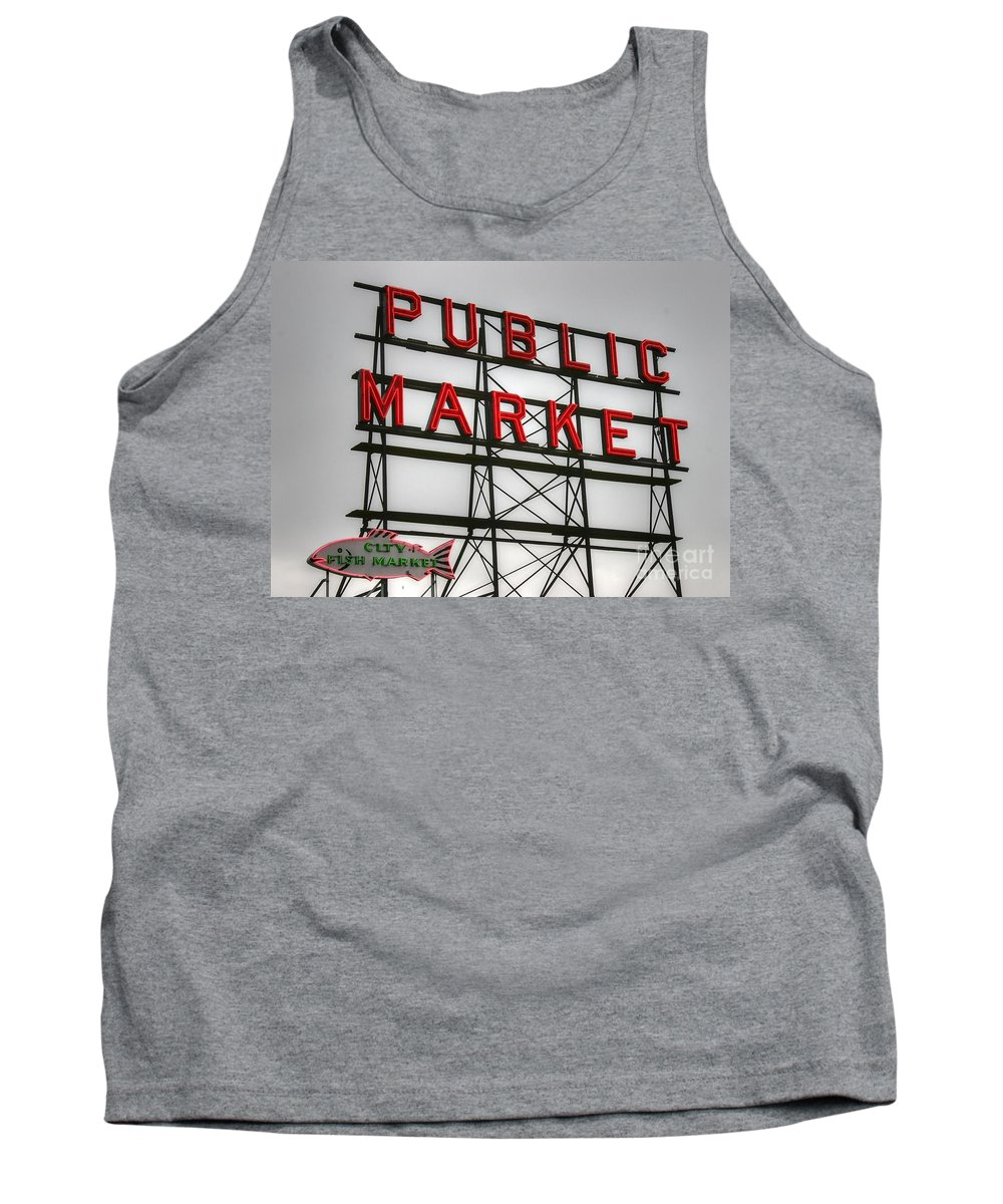 Seattle Tank Top featuring the photograph Pike Place Public Market Sign by Tap On Photo