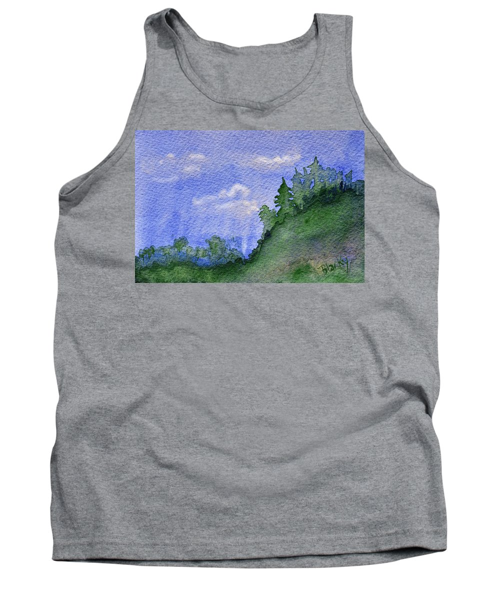 Pine Tree Tank Top featuring the painting Pine Tree Hill by Donna Blackhall