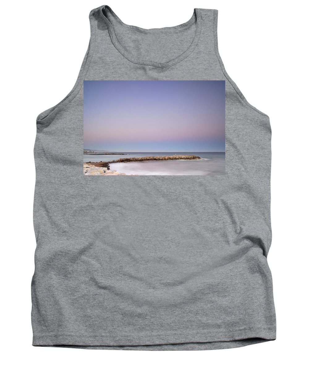 Seascape Tank Top featuring the photograph Pink Blue Sunset Over Banus by Guido Montanes Castillo