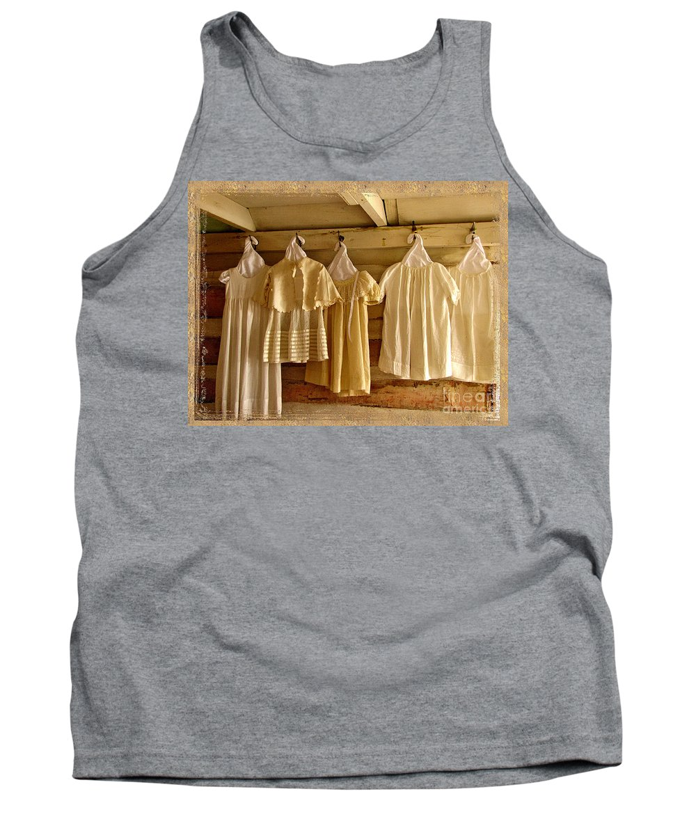 Antique Dresses Tank Top featuring the photograph Pioneer Days-child's Dresses by Marilyn Smith