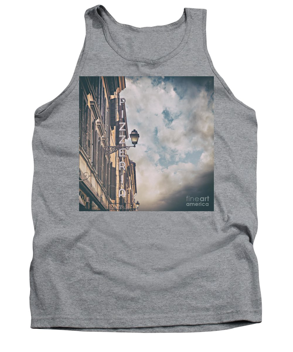 Restaurant Tank Top featuring the photograph Pizzeria Sign In Italy by Sophie McAulay