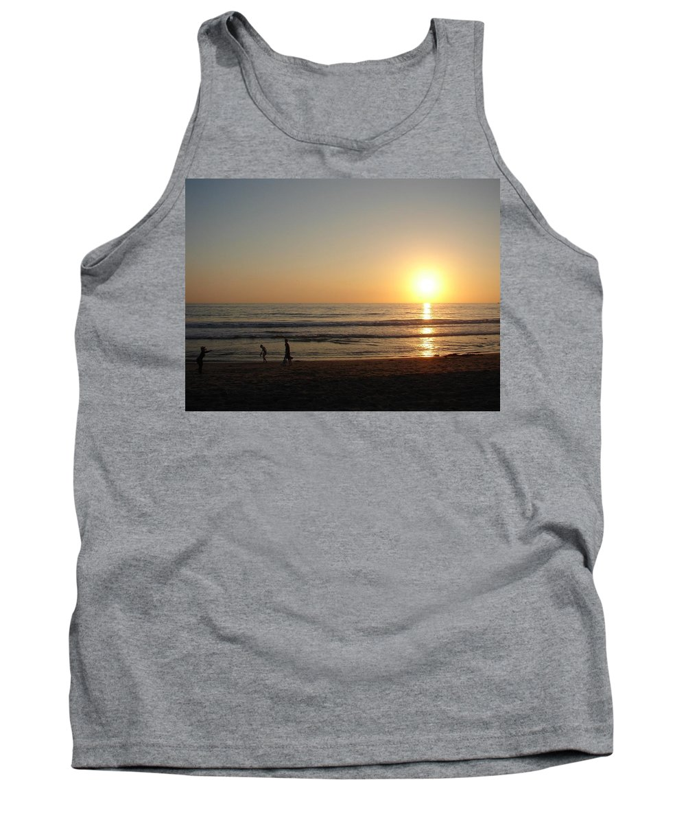 Sunset Tank Top featuring the photograph Play On California Beach by Keisha Marshall