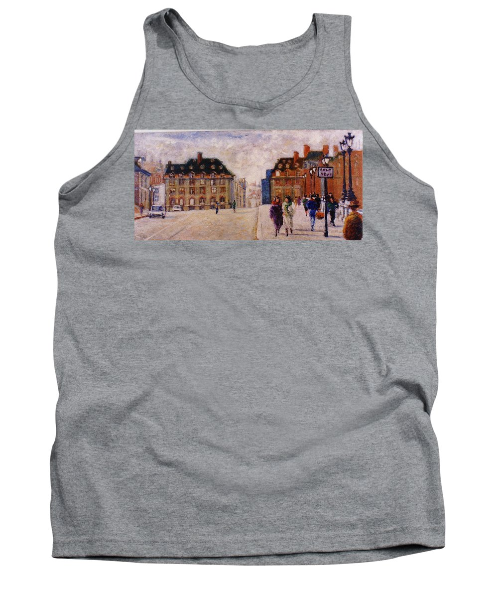 Paris Tank Top featuring the painting Pont Neuf by Walter Casaravilla