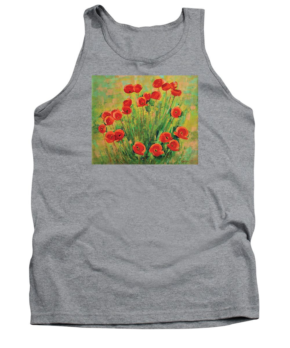 Poppies Tank Top featuring the painting Poppies by Iliyan Bozhanov