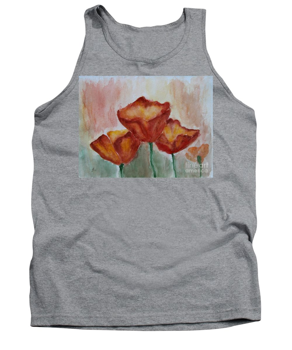 Poppy Tank Top featuring the painting Poppies - Watercolor Painting by Christiane Schulze Art And Photography