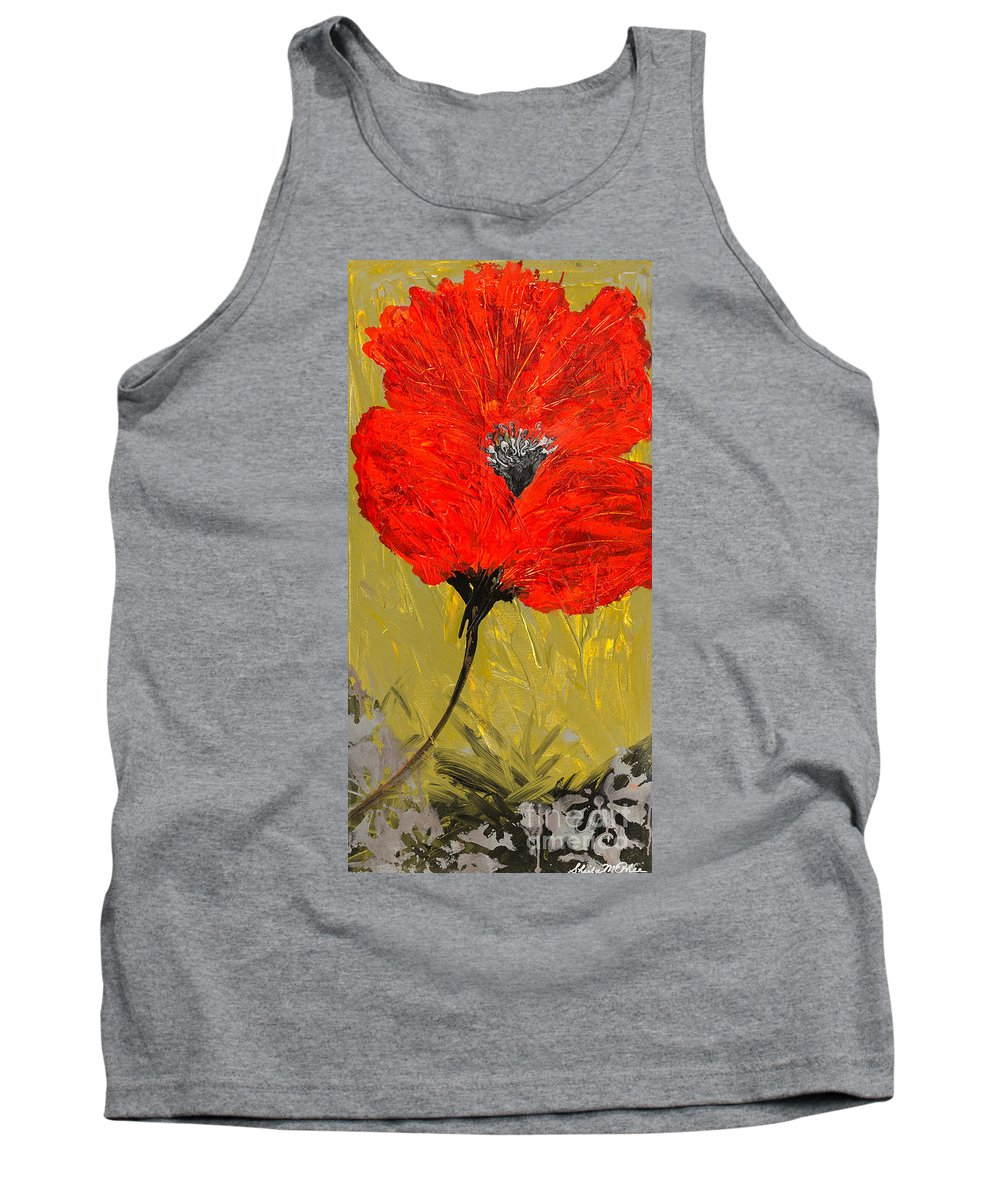 Poppy Tank Top featuring the painting Poppy 46 by Sheila McPhee