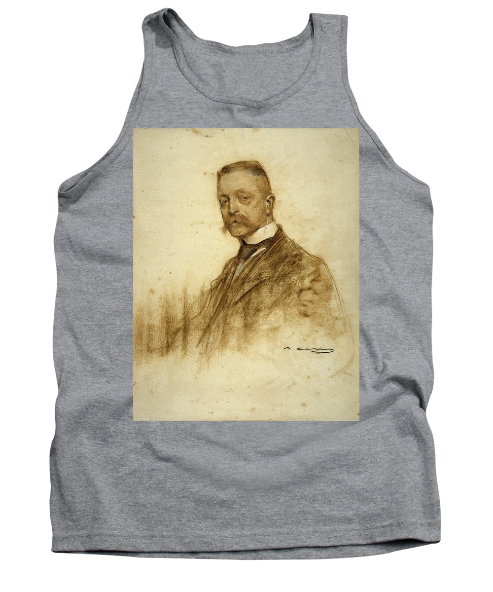 Ramon Casas Tank Top featuring the drawing Portrait Of Emile Bertaux by Ramon Casas