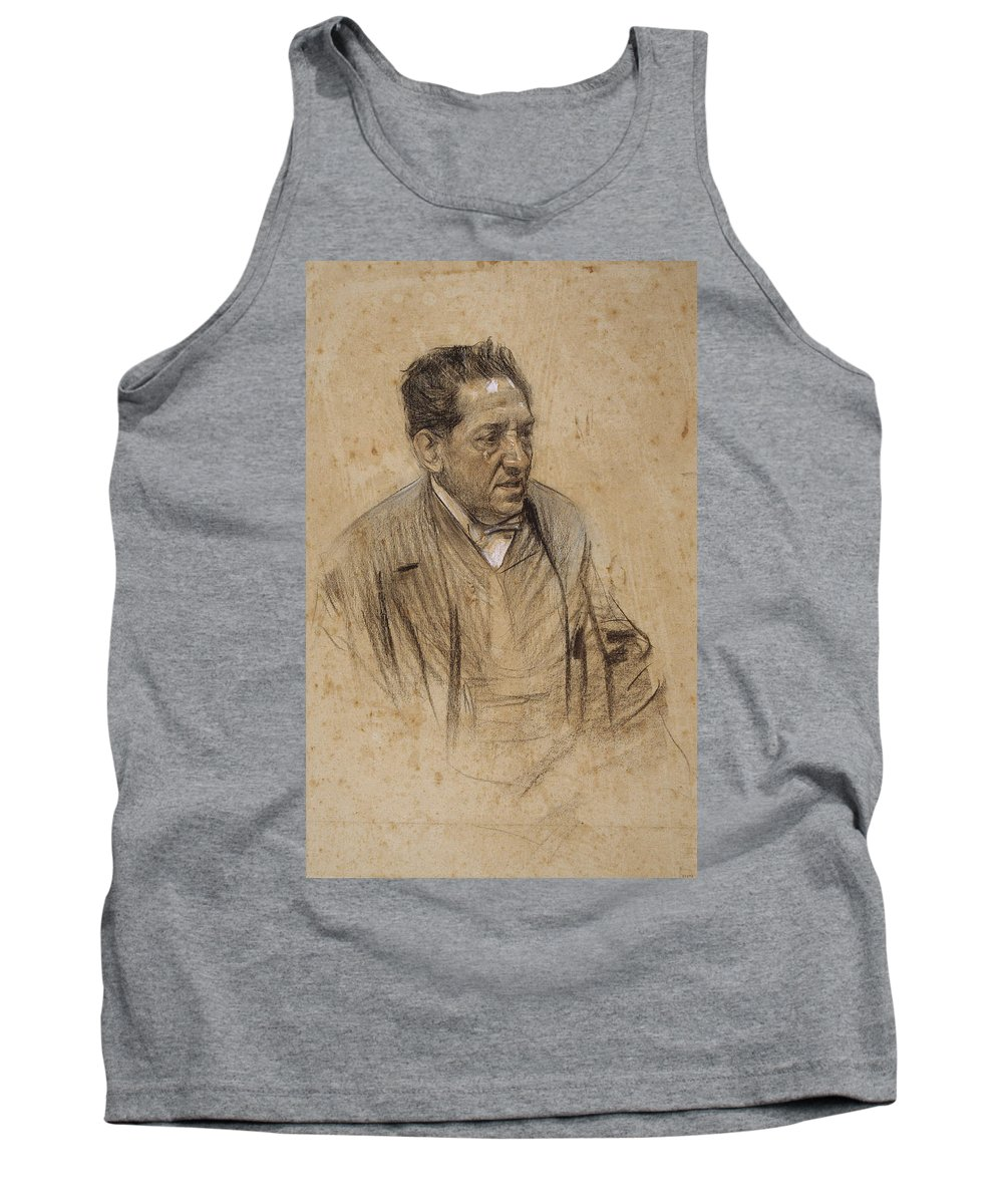 Ramon Casas Tank Top featuring the drawing Portrait Of Iscle Soler by Ramon Casas