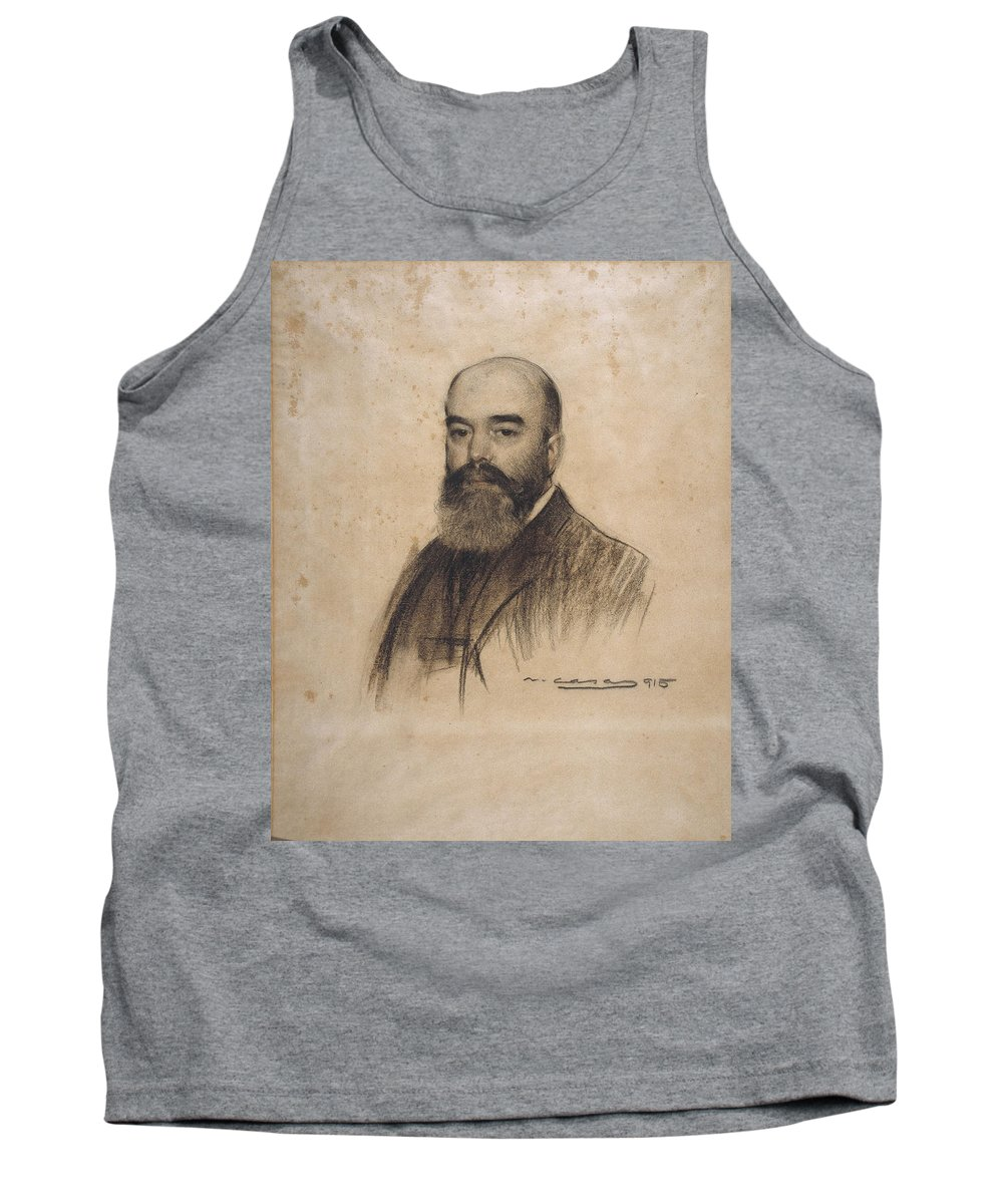 Ramon Casas Tank Top featuring the drawing Portrait Of Joan Garriga by Ramon Casas