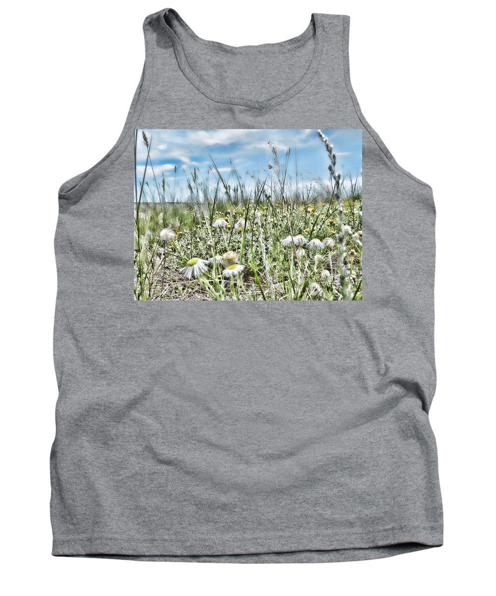 Daisies Tank Top featuring the photograph Prairie Flowers And Grasses by Cathy Anderson