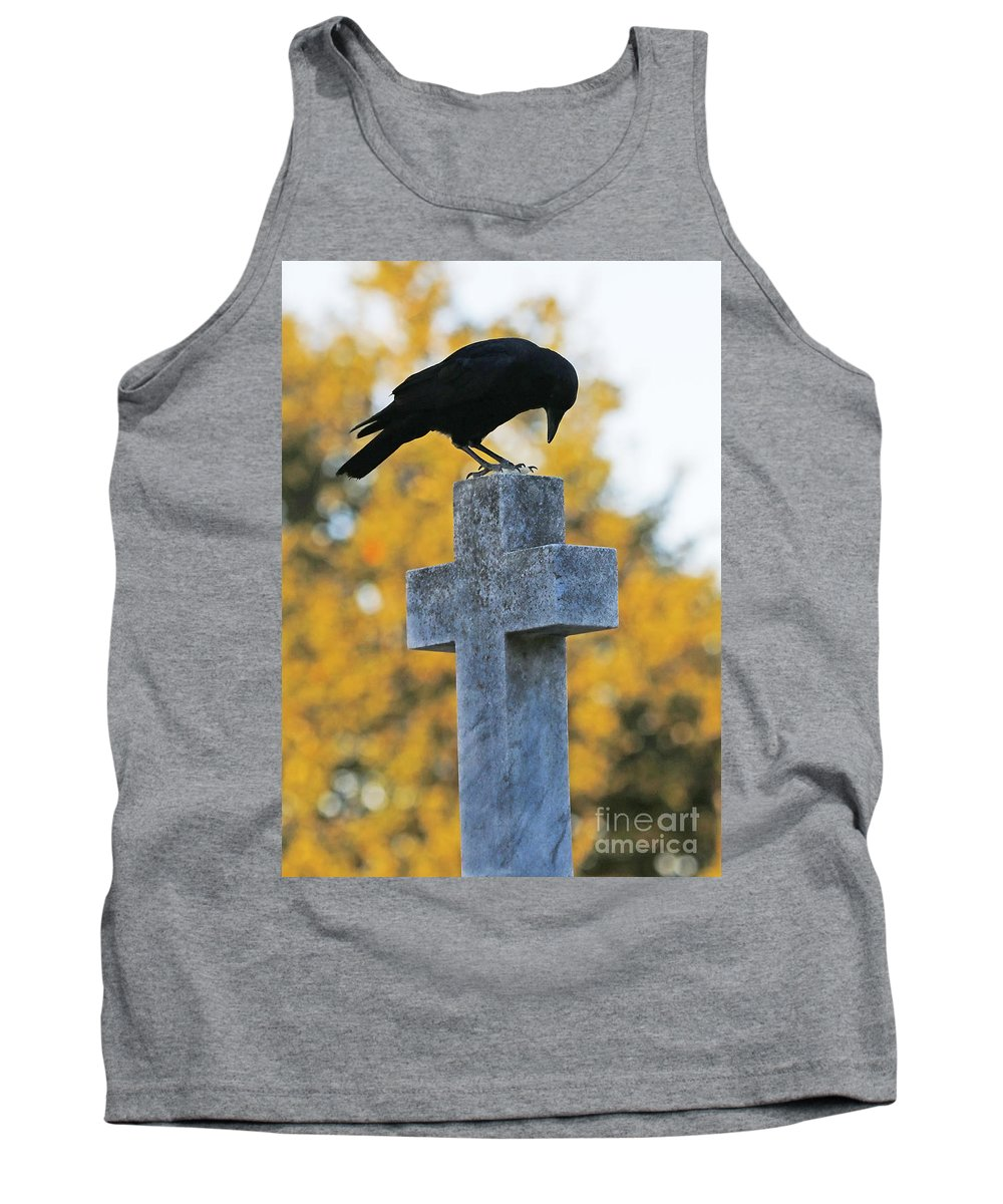 Crow On Cross Tank Top featuring the photograph Praying Crow On Cross by Luana K Perez