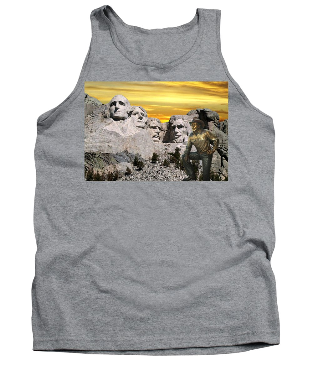 President Ronald Reagan Tank Top featuring the photograph President Reagan At Mount Rushmore by Thomas Woolworth