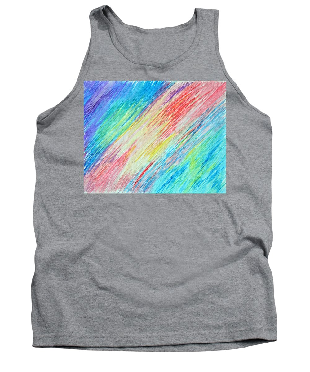 Rainbow Tank Top featuring the drawing Prismatic Shore by Wendy Anderson