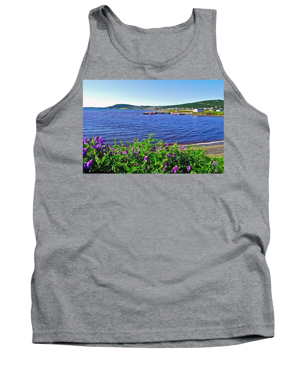 Purple Vetch Overlooking Rocky Harbour In Gros Morne Np Tank Top featuring the photograph Purple Vetch Overlooking Rocky Harbour-nl by Ruth Hager