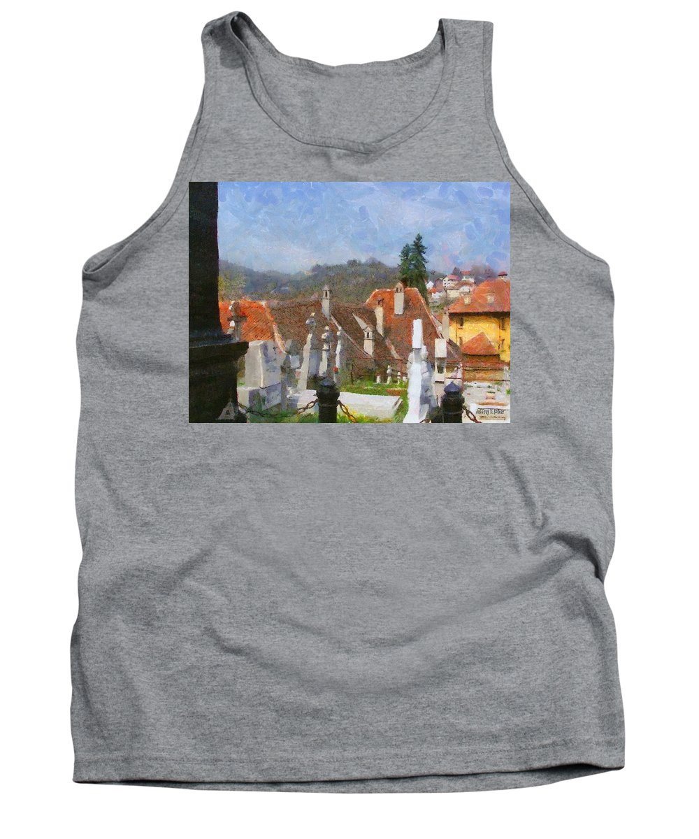 Architecture Tank Top featuring the painting Quiet Neighbors by Jeffrey Kolker