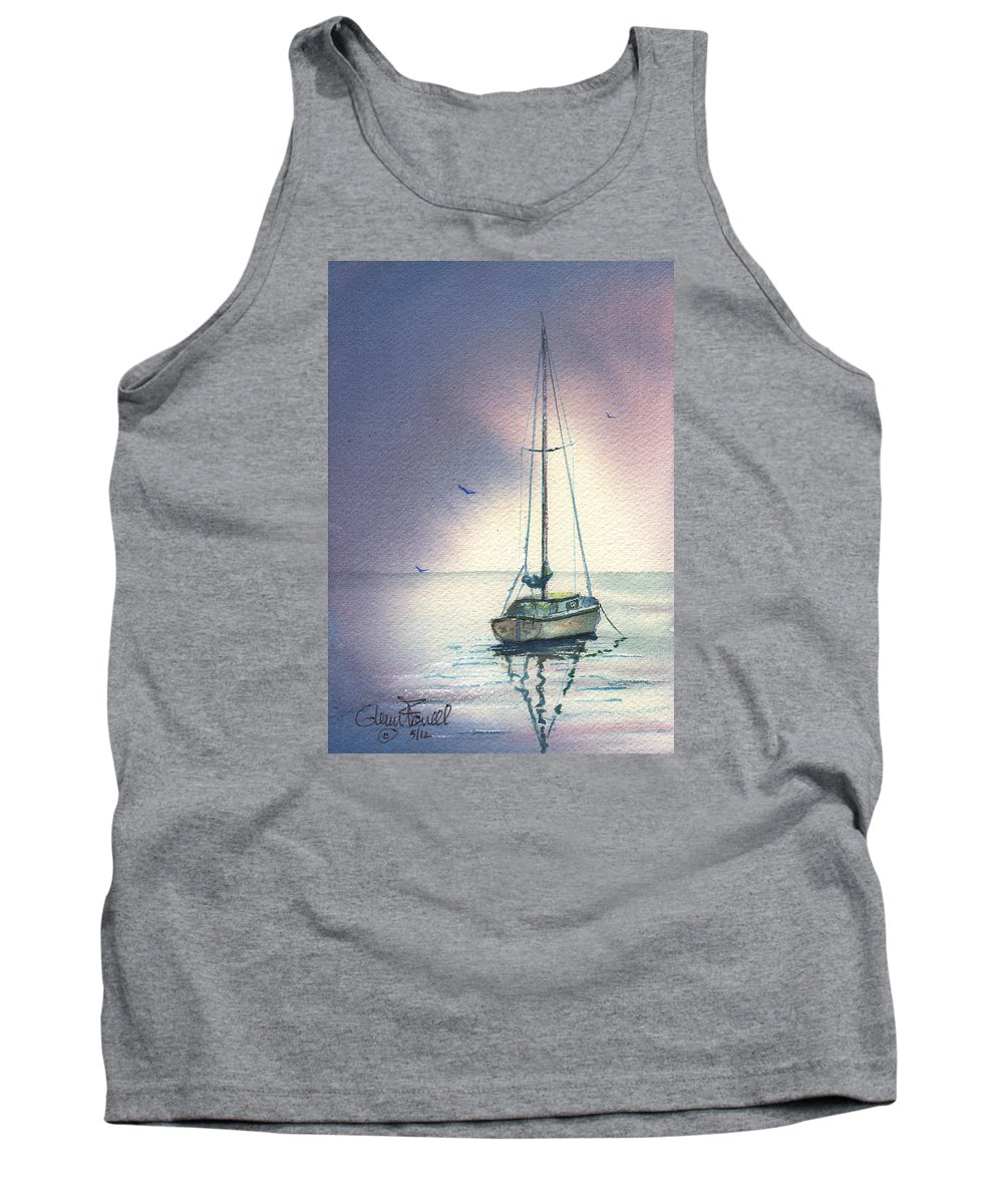 Sailboat Tank Top featuring the painting Rain Is Here by Glenn Farrell