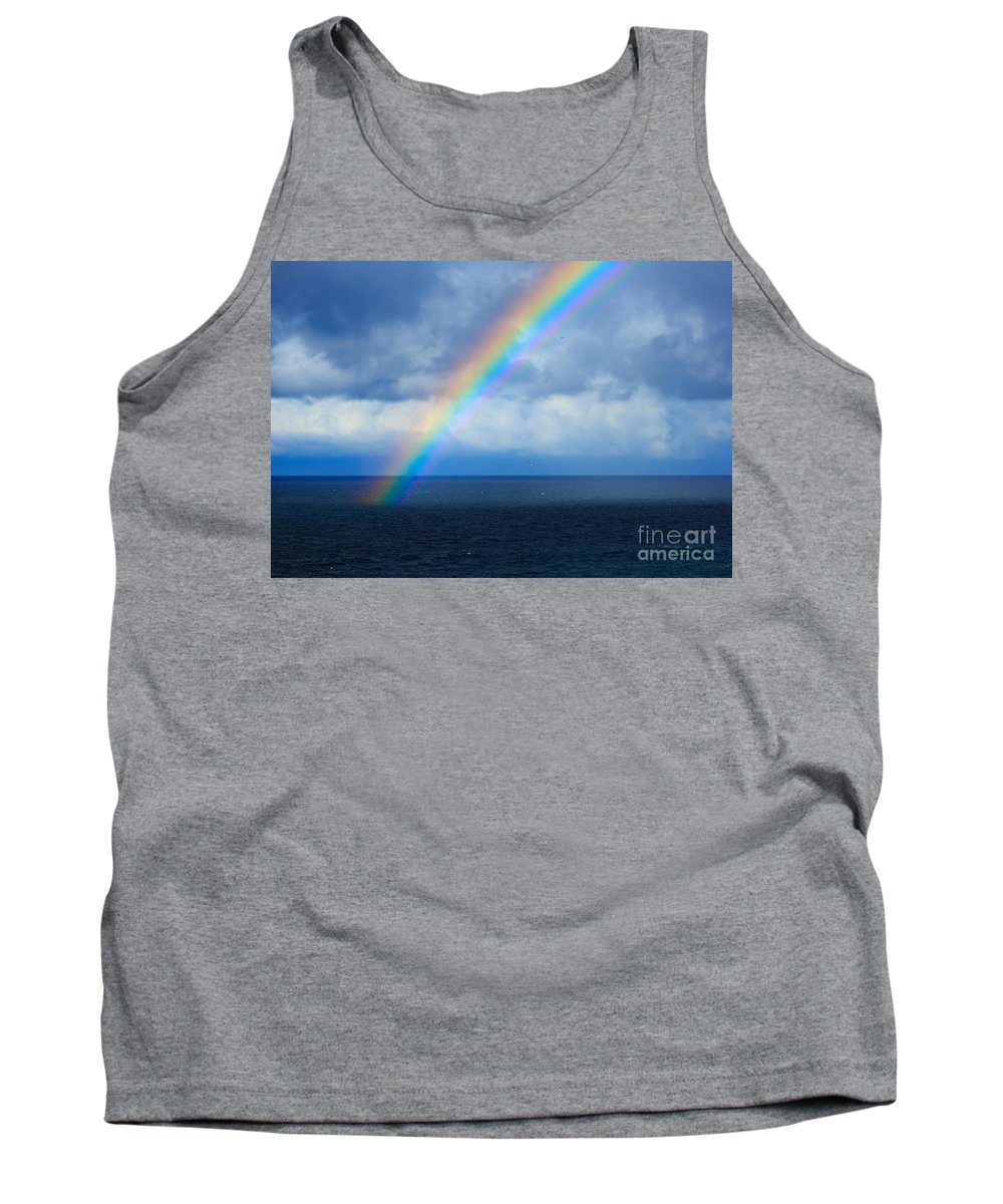 Rainbow Tank Top featuring the photograph Rainbow Over The Atlantic Ocean by Louise Heusinkveld