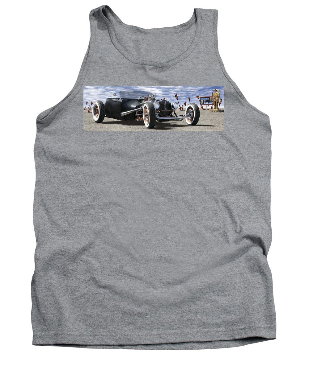 Transportation Tank Top featuring the photograph Rat Rod On Route 66 2 Panoramic by Mike McGlothlen
