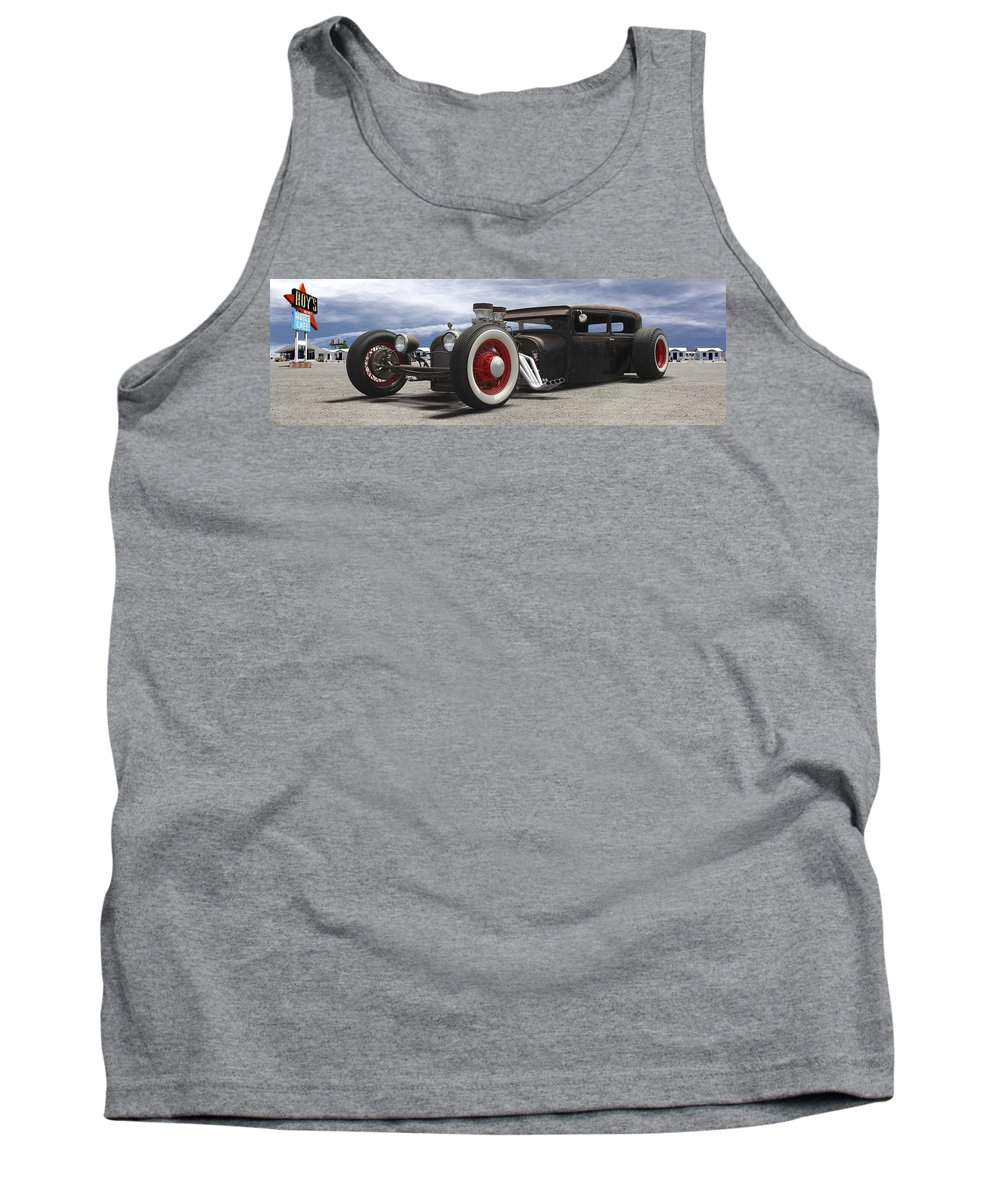 Transportation Tank Top featuring the photograph Rat Rod On Route 66 Panoramic by Mike McGlothlen