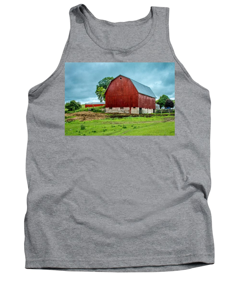 Levering Tank Top featuring the photograph Red Barn by Bill Gallagher