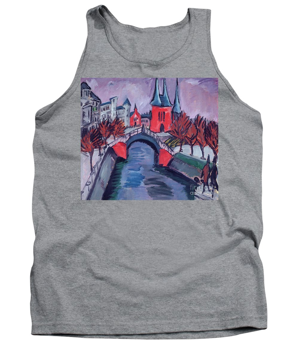 Elisabethufer Tank Top featuring the painting Red Elisabeth Riverbank Berlin by Ernst Ludwig Kirchner