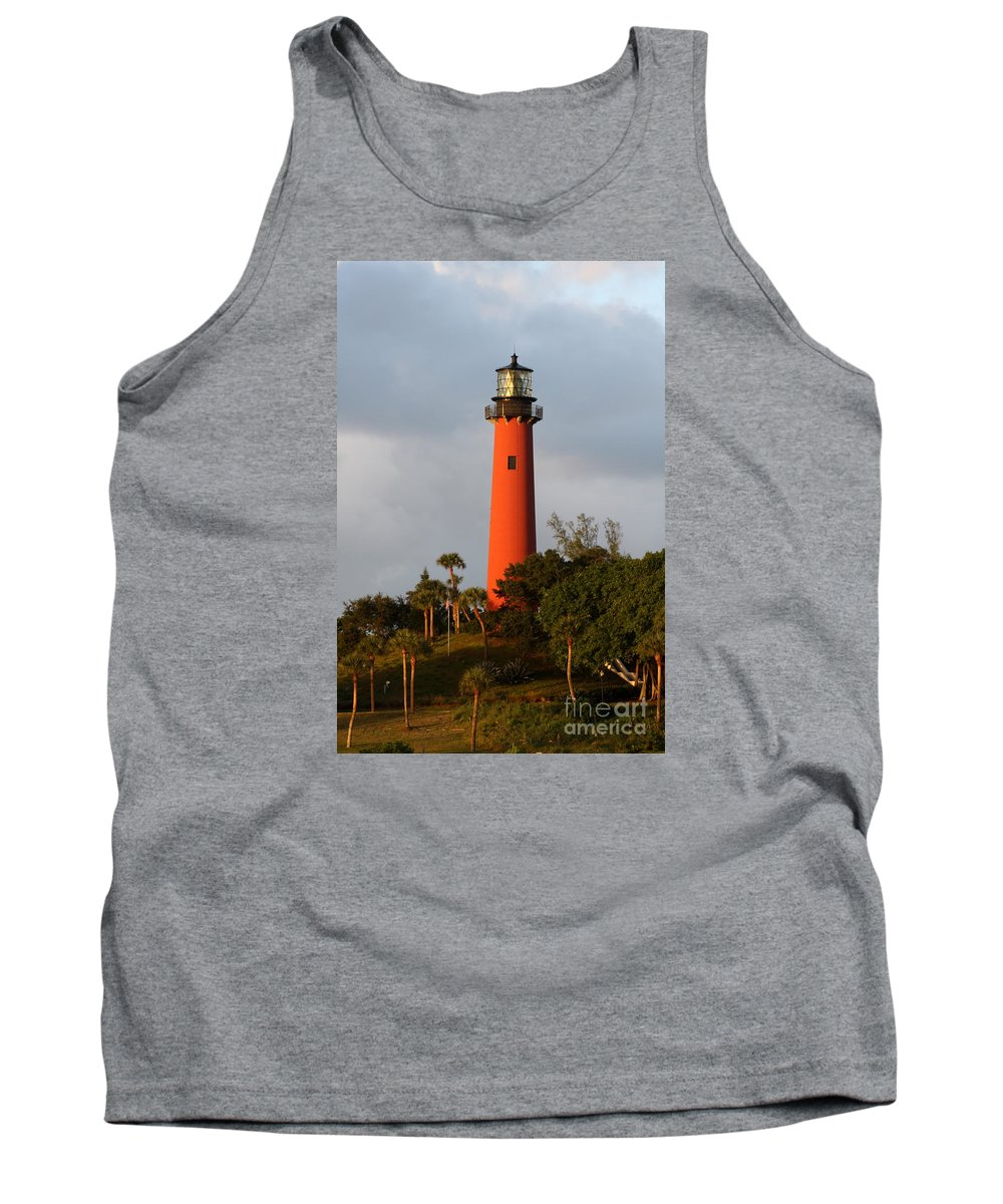Red Jupiter Lighthouse Tank Top featuring the photograph Red Jupiter Light by Christiane Schulze Art And Photography